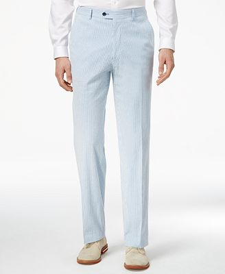 Product# JSM-3158 Men's Blue/White Slim-Fit Stretch Performance Cheap priced Mens Searsucker Seersucker Sale Suit Pants