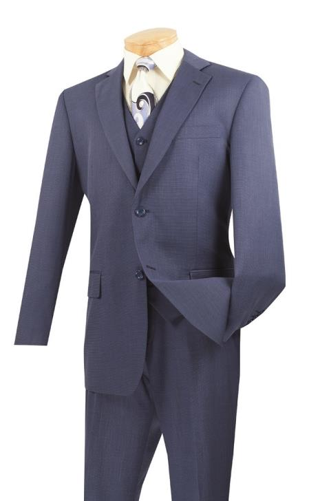 KA6838 3 Piece Wool Fabric Feel Classic Suit– Blue