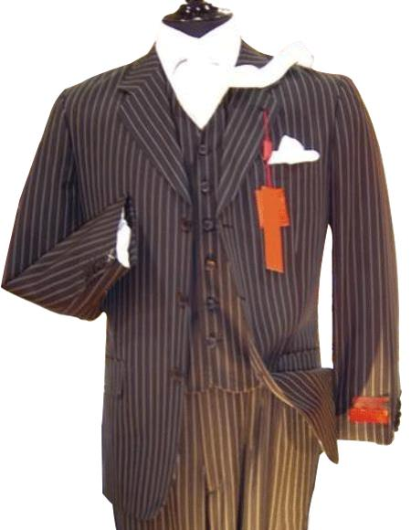 Chalk pronounce visible Pinstripe Vested three piece suit Available in 2 Buttons Style only