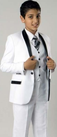 Product# JSM-2404 Boy's 1 Button Closure Shawl Lapel Fashion 2 Tone Design White/Black 3 Piece Boys And Men Suit