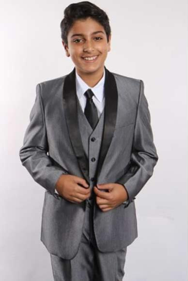 Boy's Two Toned Shawl Lapel 5 Piece Gray/Black Boys And Men Suit Vested With Shirt, Tie & Hanky