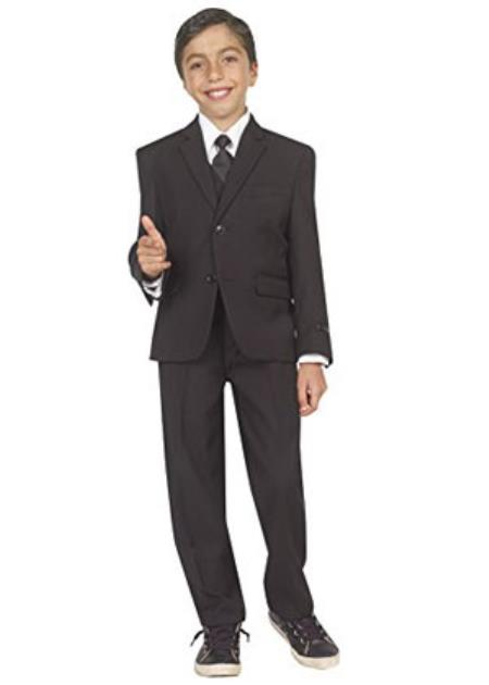 Product# RM1272 Kids Boys Tazio 2 Welt Pockets 5 piece Boys And Men Suit For Teenagers with Vest, Shirt & Tie Black