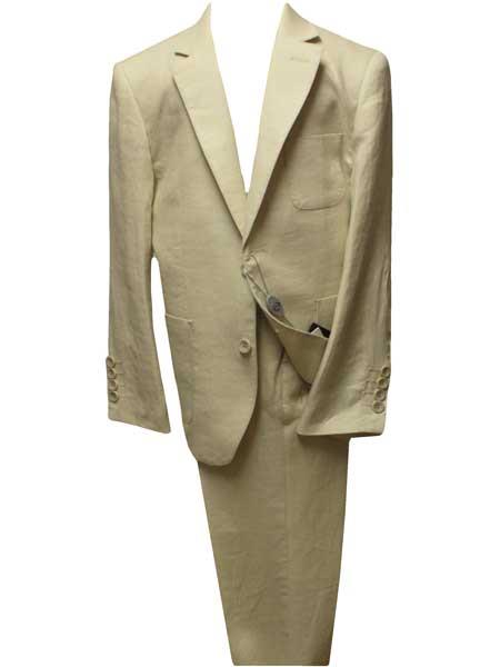 Boy's Beige Men's 2 Piece Linen Causal Outfits Notch Lapel 2 Button Style Single Breasted Boys And Men Suit/ Beach Wedding Attire For Groom