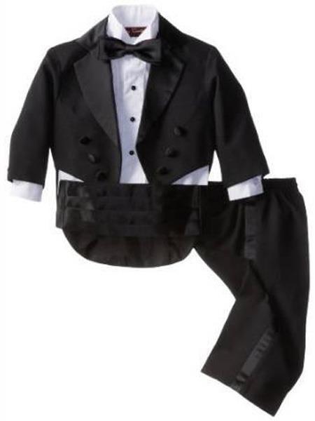 Product# MO488  Baby Boys Notch Lapel Black Tuxedo Suit