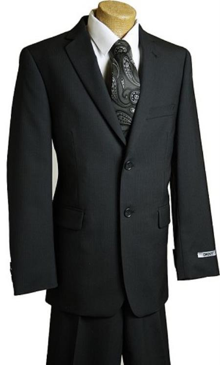 Kids Boys Liquid Jet Black Pin 2 Button Style Wool Fabric feel poly ~rayon Designer Suits For Teenagers