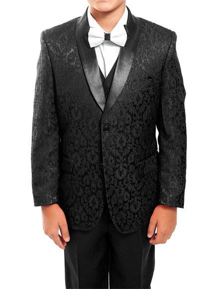 Product# GD1112 Kids ~ Children ~ Boys ~ Toddler Tuxedo Black Vested Suit