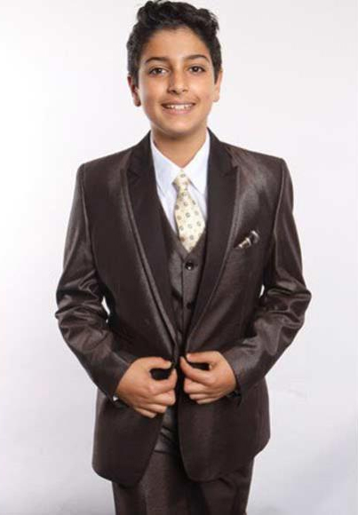 Boy's Poly Rayon Satin Peak Leapel 5 Piece Vested Brown Boys And Men Suit With Shirt, Tie & Hanky