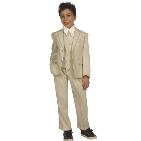 Kids Boys Five Piece Suits For Teenagers With Vest,Shirt And Tie Beige