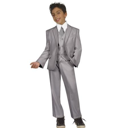 Product# AC-983 Kids Boys Five Piece Suits For Teenagers With Vest,Shirt And Tie Grey