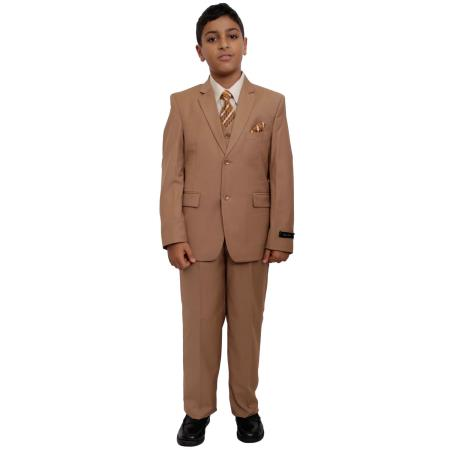 Product# BC-86 Boy's Five Piece Suits For Teenagers Set Camel ~ Khaki