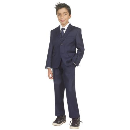 Product# AC-985 Kids Boys Five Piece Suits For Teenagers With Vest,Shirt And Tie Navy