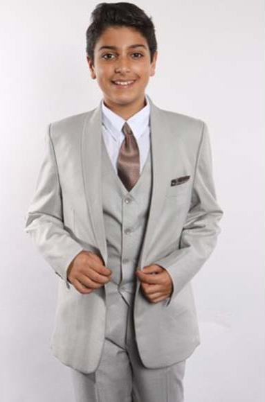 Boy's 1 Button Shawl Lapel With Shirt, Tie & Hanky Vested 5 Piece Gray Boys And Men Suit