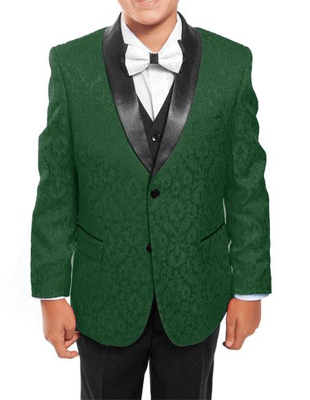 Product# GD1114 Kids ~ Children ~ Boys ~ Toddler Tuxedo Vested Green/Black Suit for Men