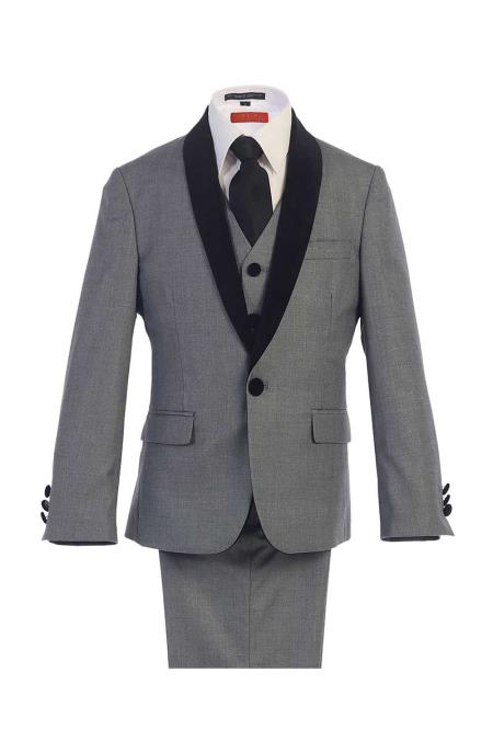 Classic Kids Boys Kids Sizes Fit Dress Shirt Grey 1 Button Style Suede Shawl Boys And Men Suit For Teenagers