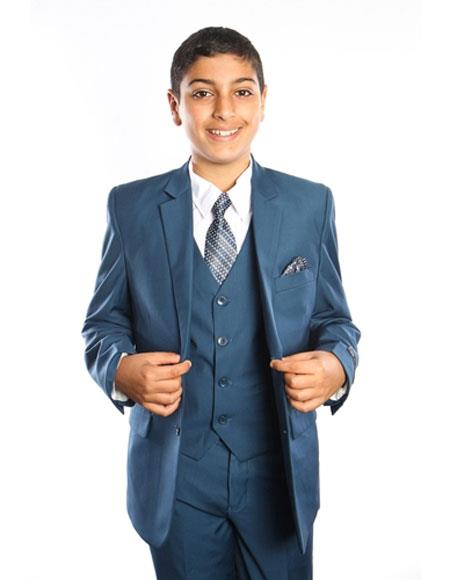 Product# JSM-3768 Boy's Kids Toddler 2 Button Fashion Color Children Boys And Men Suit For Teenagers Vested Solid Indigo ~ Teal ~ Cobalt Blue