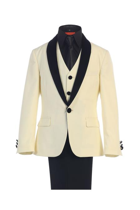 Product# SM434 Classic Kids Boys Kids Sizes Fit Ivory 1 Button Style Suede Shawl Lapel Boys And Men Suit For Teenagers Dress Shirt