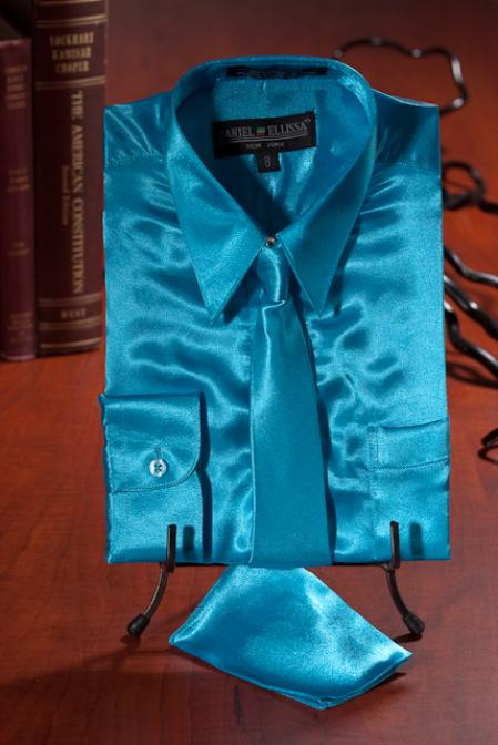 Kids Boys turquoise ~ Light Blue Stage Party Satin Dress Shirt Combo