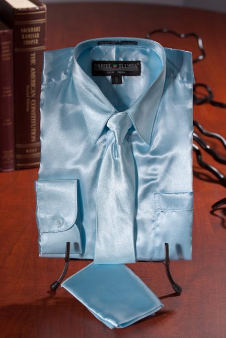Product# LKJ932 Kids Boys Light Blue Satin Dress Shirt Combo