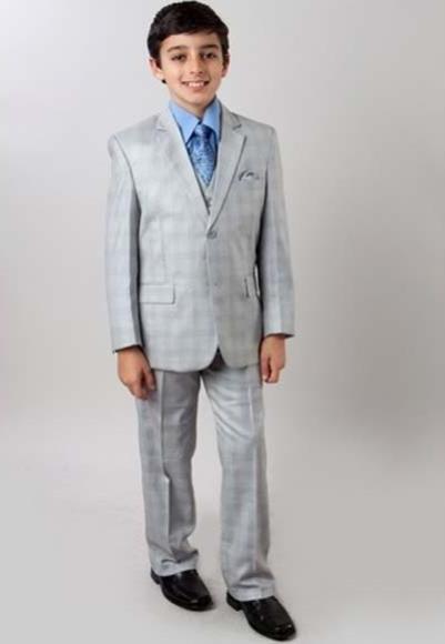 Boy's 2 Button Subtle Plaid Notch Lapel 3 Piece Classic Light Gray Vested Boys And Men Suit
