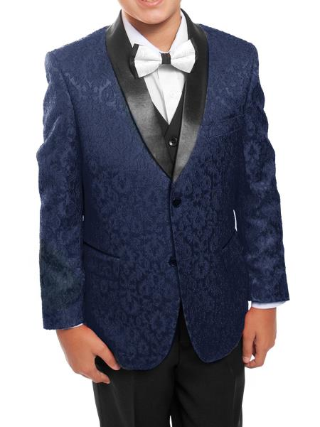 Boys 3 Piece Navy/Black Satin Shawl Collar Floral Pattern Tuxedo Set With Free Matching Shirt & Bow Tie