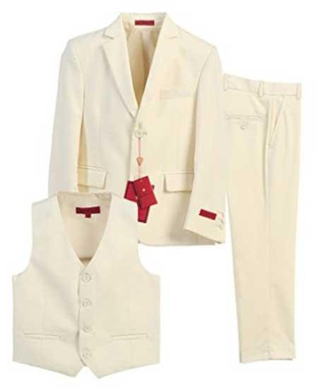 Boys Off White 3 Piece Formal Notch Lapel Vested Boys And Men Suit With Pants Set