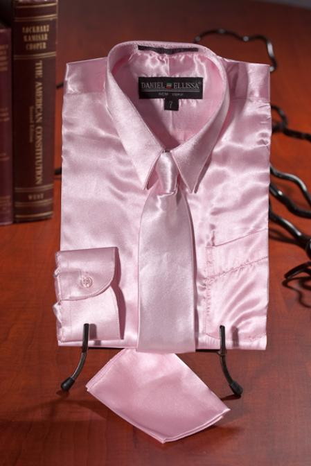 Product# MNX732 Kids Boys Light Pink Satin Dress Shirt Combo