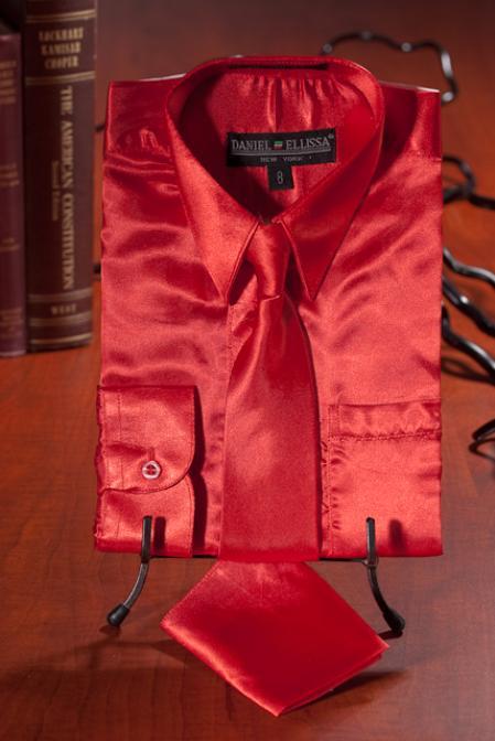 Kids Boys red color shade Satin Dress Shirt Combo