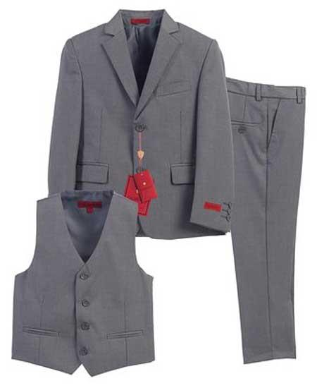 Boys Gray 3 Piece Formal Notch Lapel Single Breasted Vest Boys And Men Suit With Pants Set