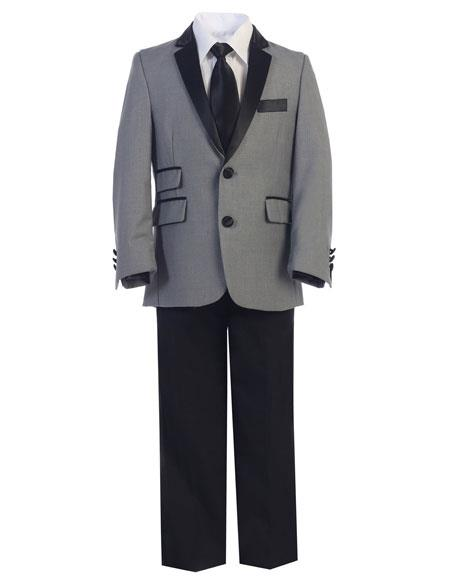 Product# JSM-3309 Boys Gray ~ Grey and Black Lapel Kids Toddler Boys And Men Suit For Teenagers (Tuxedo Looking)