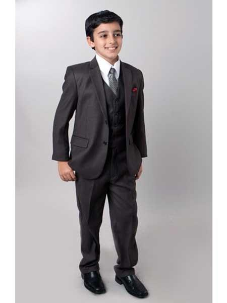 Boy's Dark Slate 5 Piece Notch Lapel Single Breasted Suits For Teenagers With Tone On Tone Pinstripe