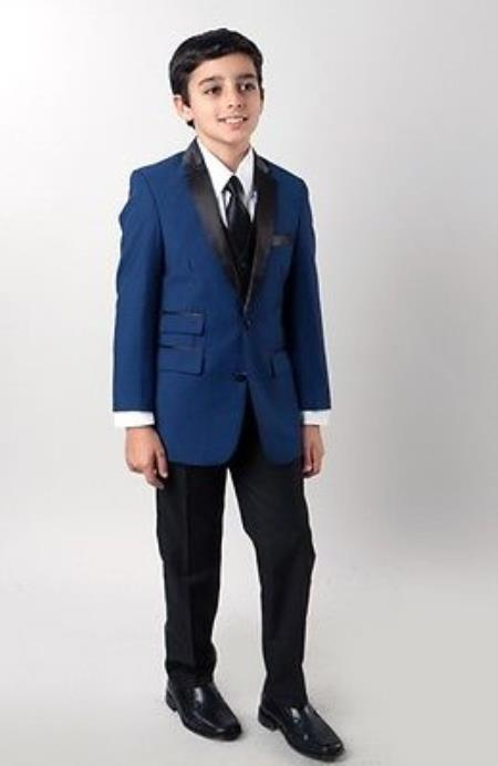 4 piece Kids Boys Slim narrow Style fit style Tuxedo Blue with vest and Pants Shawl Colar