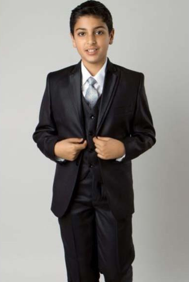Product# JSM-2402 Boy's Solid Black 5 Piece Single Breasted Double Lapel Boys And Men Suit Vested With Shirt,Tie & Hanky