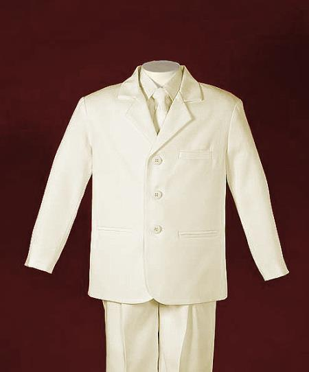 Kids Boys 3 Button Style Single Breasted Ivory Boys And Men Suit For Teenagers