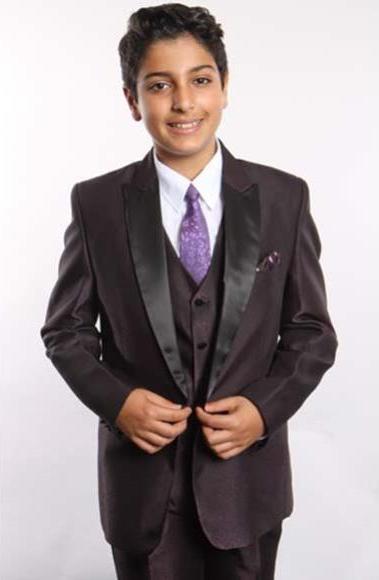 Boy's 2 Button 5 Piece Plum Satin Peak Lapel With Shirt,Tie & Hanky Vested Boys And Men Suit