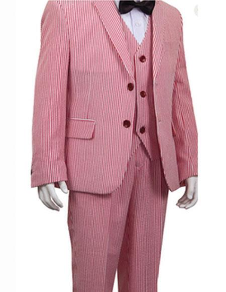 Cheap priced men's Seersucker Suit Sale Boys And Men Suit For Teenagers Stripe ~ Pinstripe Boys ~ Children ~ Kids Red Suit For Men Perfect For Prom