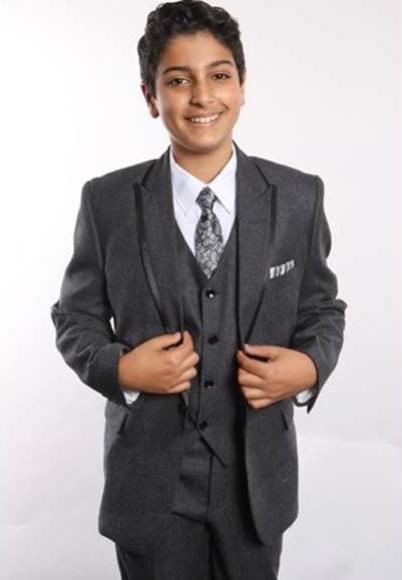 Boy's 2 Button Trimmed Peak Lapel With Shirt,Tie & Hanky 5 Piece Black Vested Boys And Men Suit