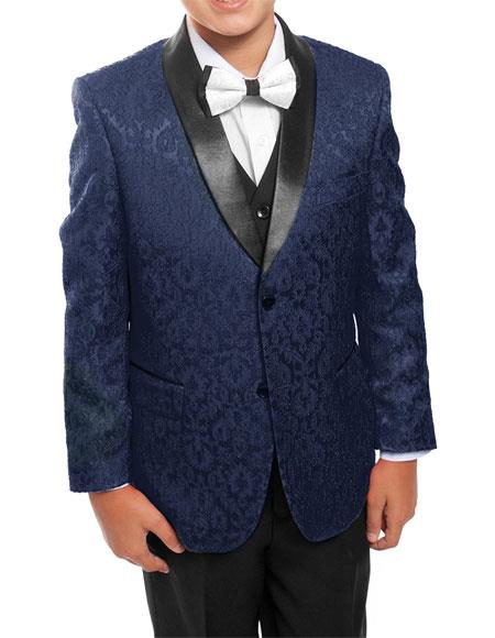 Product# GD1115 Kids ~ Children ~ Boys ~ Toddler Tuxedo Vested Suit Navy/Black