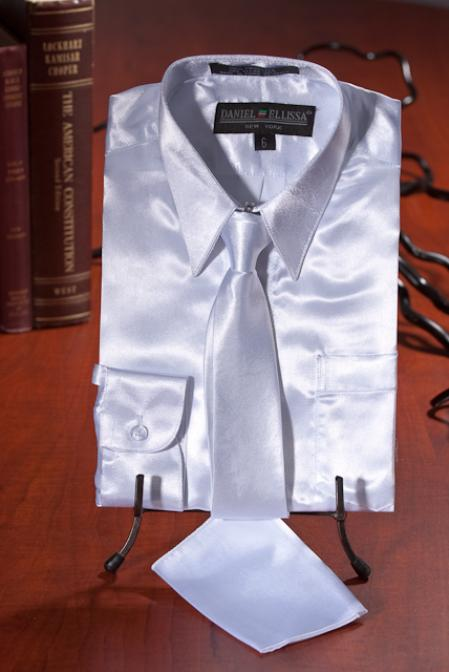 Boys White Satin Dress