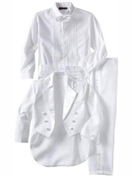 Baby Boys Notch Lapel White Tuxedo Suit