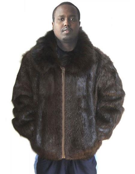 Mens Fur Natural Brown