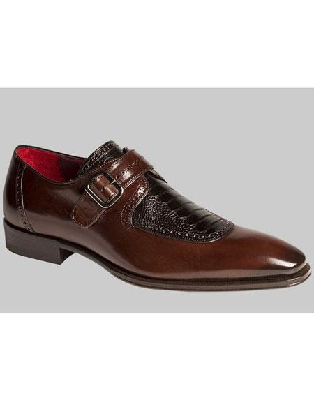 Mens Brown/Black Calfskin With