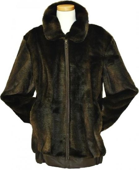Stylish men's brown leather jacket Faux Fur Bomber Jacket brown color shade