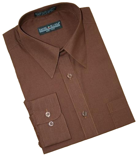 Product# LA340 Solid Chocolate brown color shade Cotton Blend Dress Shirt With Convertible Cuffs