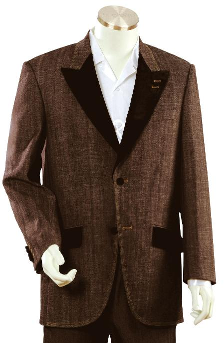 Product# NR5679 Stylish brown color shade Fashion Unique 1920s tuxedo style Denim Cotton Peak Lapel