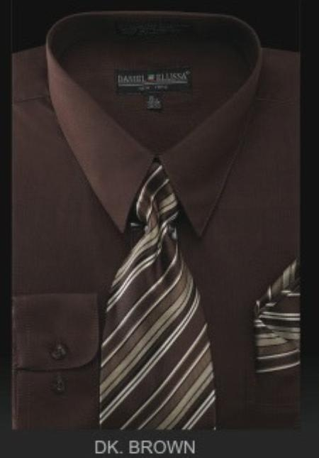 Product# BZ9922 Dress Shirt - PREMIUM TIE - Dark brown color shade