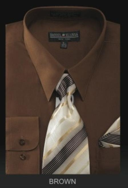 Product# BR6001 Dress Shirt - PREMIUM TIE - brown color shade