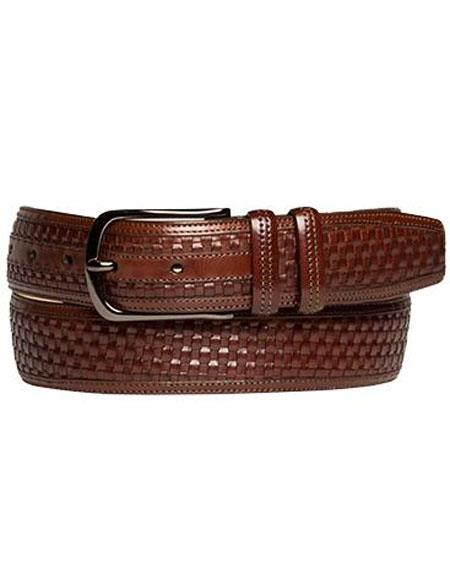 Product# JSM-6711 Mezlan Men's Brown Genuine Embossed Woven Calfskin Belt