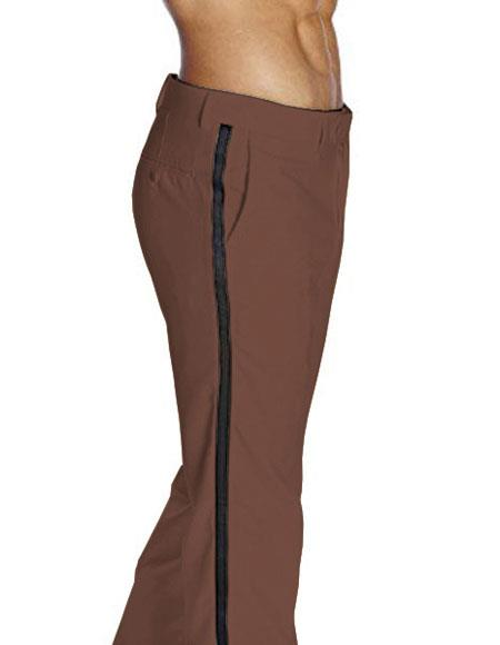 Product# JSM-4801 Men's Flat Front With Satin Band Brown Classic Fit Tuxedo Pant