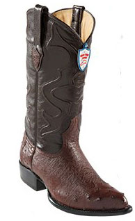 Product# BH9045 Wild West brown color shade J-Toe Smooth Ostrich Wing Tip Cowboy Boots