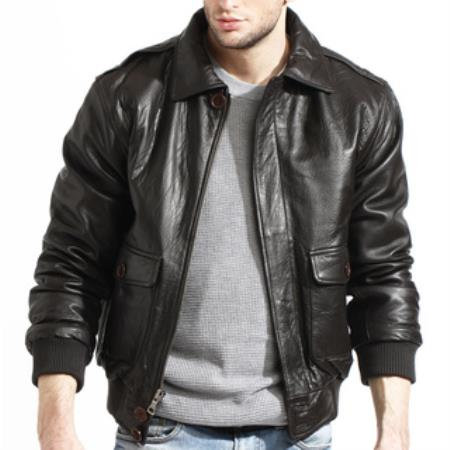Product# AC-205 brown color shade Lambskin Leather Bomber Jacket Available in Big and Tall Sizes